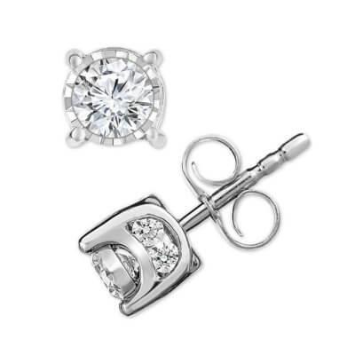 Macy's 14K White Gold Diamond Stud Earrings
