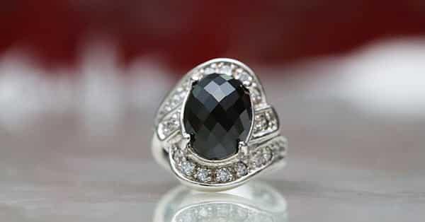 Jasper Black Gemstone on a Diamond Ring
