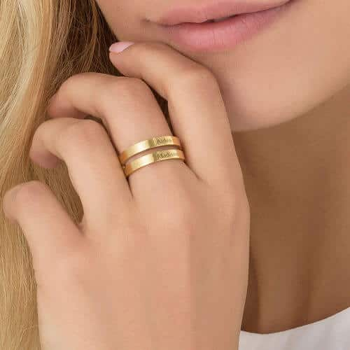 Personalized Two-Name Name Ring: Two Bars and Wrap Style