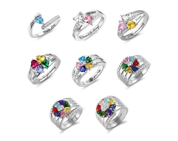 Personalized Birthstone Name Rings: Multiple Birthstones or With Unique Shape
