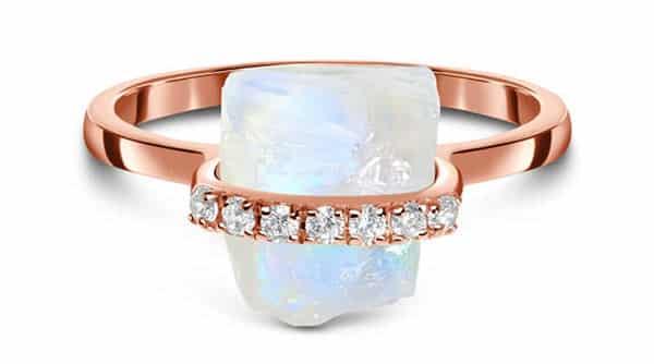 Rose Gold Vermeil Moonstone Ring at Moon Magic