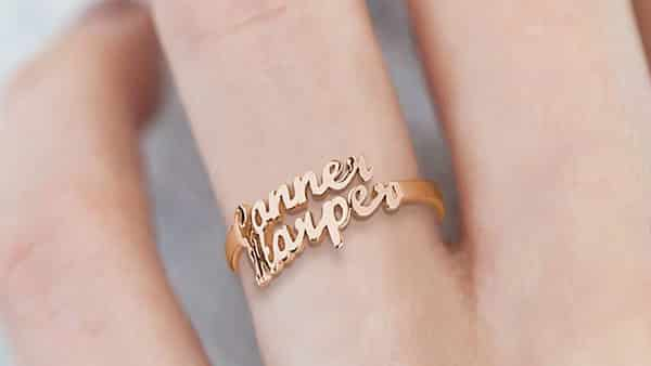 Rose Gold-Plated Two-Name Name Ring by Name Necklace