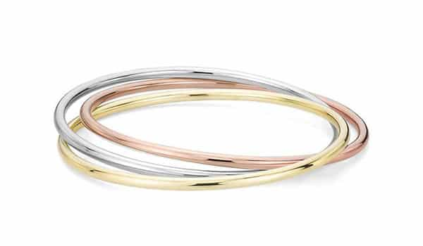 Trio Bangle Bracelet in 14K White, Yellow and Rose Gold (Blue Nile)