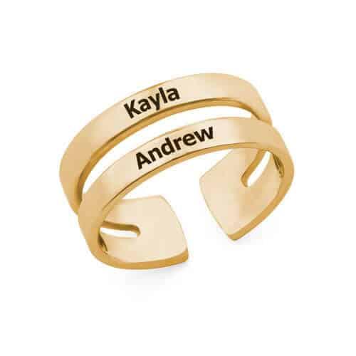 Wrap-Style Custom Two-Name Name Ring: Yellow Gold