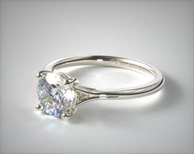 18K White Gold Split Shank Solitaire Diamond Engagement Ring by James Allen