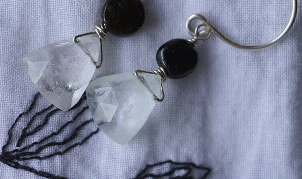 Natural White Goshenite Earrings With Sterling Silver Wire