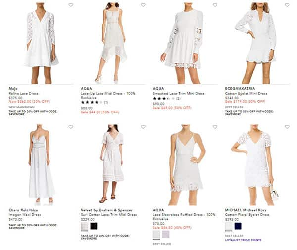 Different Styles of White Lace Dresses Sold by Bloomingdale's