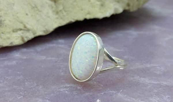 White Opal Oval Statement Ring Sterling Silver