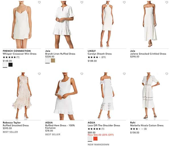 A Variety of White Pearl Dresses From Bloomingdale's