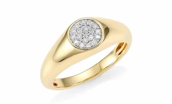 14kt Yellow Gold Diamond Signet Ring for Bold Statement