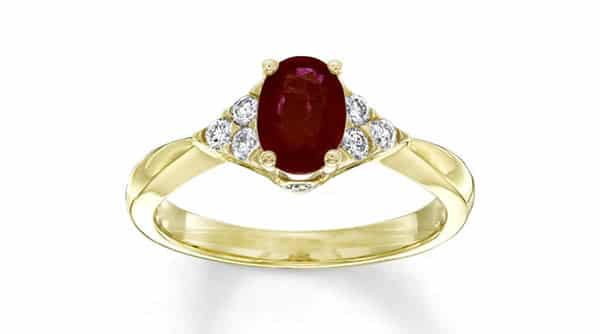 14K Yellow Gold Ring With Large Natural Red Ruby Gemstone and Small Diamonds