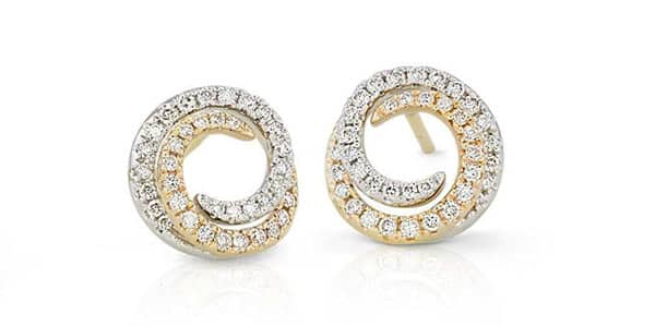 Diamond Swirl Earrings in Yellow and White Gold | Blue Nile