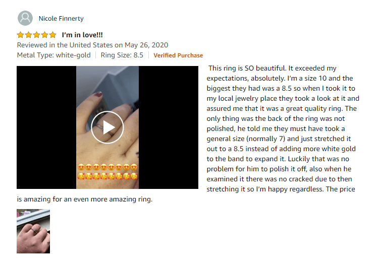 A Verified Review With Video and Photos, for a Solitaire Diamond Engagement Ring on Amazon