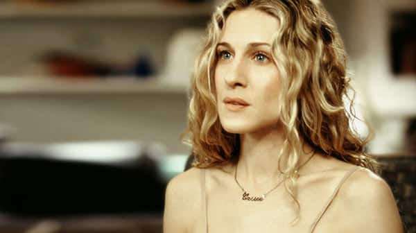 Carrie Bradshaw Wearing Her Name Necklace at Sex and the City