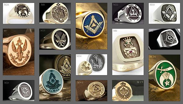 Gallery of Dexter's Masonic Signet Ring Designs