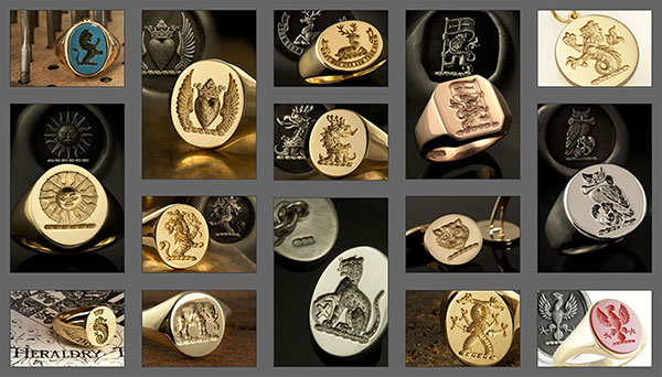 Dexter's Family Crest Signet Ring Examples