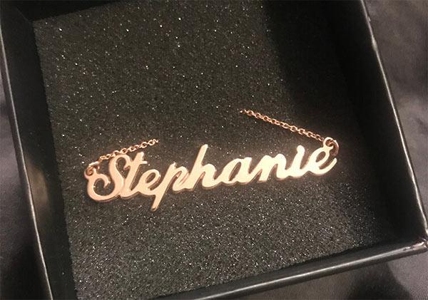 Classic Name Necklace 18kt Rose Gold on Velvet Cushion