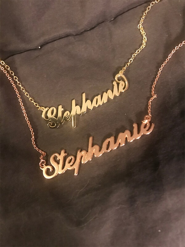 Stephanie's Soufeel Carrie Name Necklace (Yellow Gold) V.S. My Name Necklace Classic Name Necklace (Rose Gold)