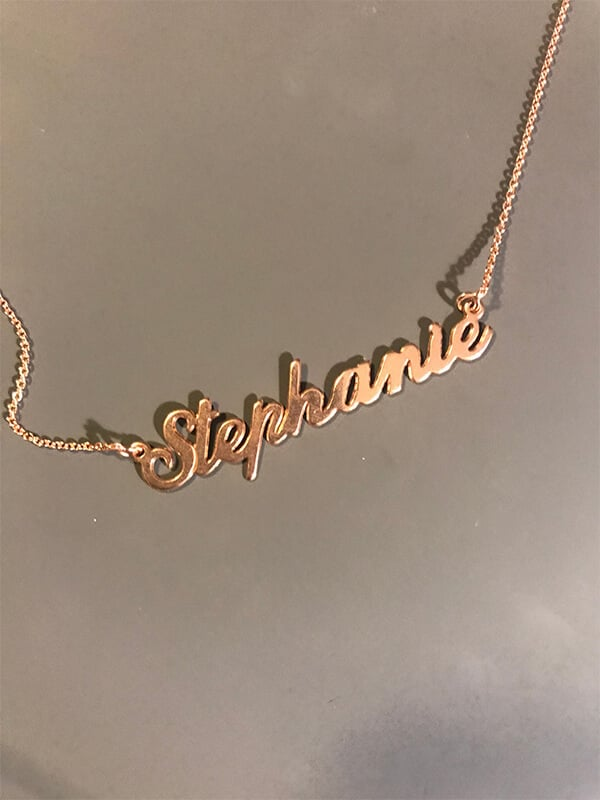 Stephanie's Classic Name Necklace in 18K Rose Gold Plated Silver