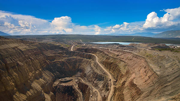 Aerial View of a Diamond Open Mine Under Blue Sky