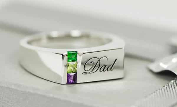 Personalized Birthstone Signet Rings for Dads or Men