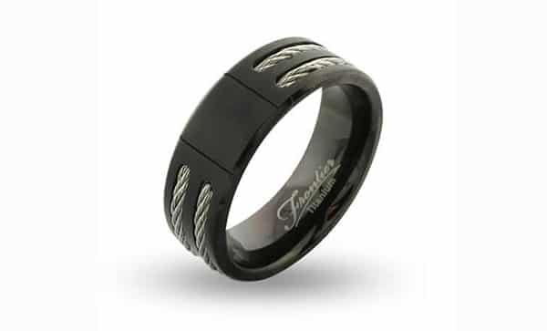 Black Titanium Cable Inlay Custom Engraved Signet Ring by Eve's Addiction