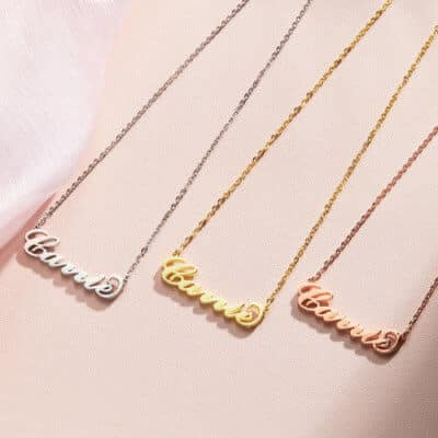 Classic Name Necklace With Carrie-Style Font: White, Yellow and Rose Gold