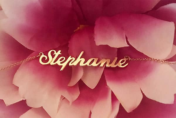 A Lovely Close Shot of Stephanie's Rose Gold Classic Name Necklace