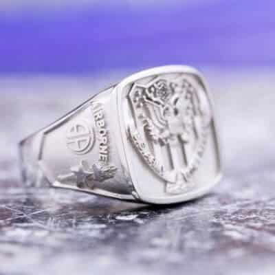Custom Military Signet Ring: Represents Wearer's Army Service and Incorporates His 5 Unit Patches Into the Shoulder Designs