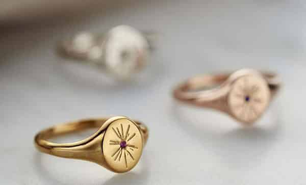 Oval Birthstone Signet Ring for Customization, in Yellow Gold, Rose Gold and Sterling Silver