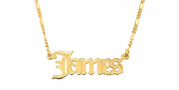 Gothic-Style Font Name Necklace in 18K Yellow Gold