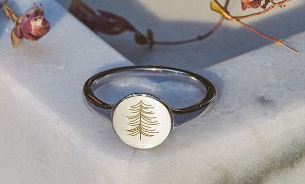 Personalized Engraved Tree Signet Ring Yellow Gold