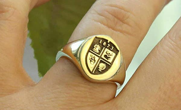 Personalized Family Crest Signet Ring in Gold or Sterling Silver