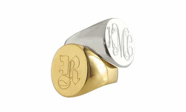 Classic Oval Signet Ring With Personalized Monogram Engraved