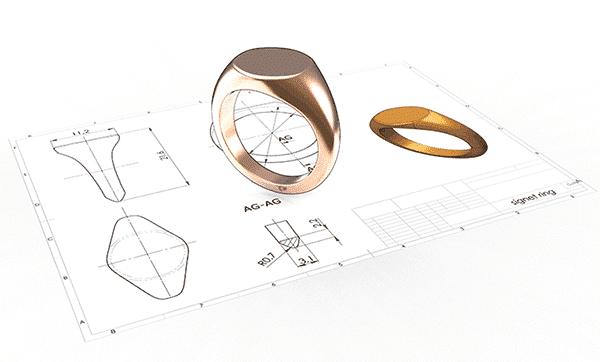 Custom Gold Signet Ring Sketch
