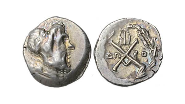 Achaea Monogram Coin Consisting of an Alpha (A) and Chi (X) Joined Together