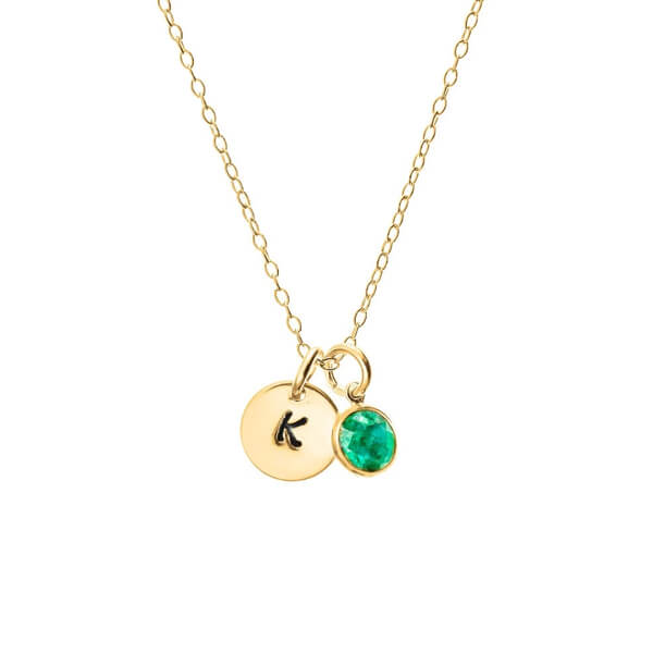 Product Image: Eve's Addiction Initial Birthstone Necklace in Yellow Gold