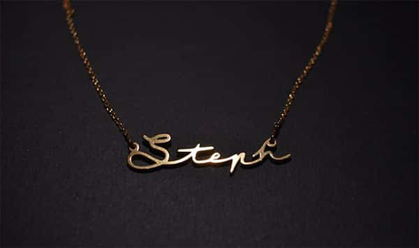Material, Look and Feel of Steph's Mon Petit Name Necklace by Oak & Luna