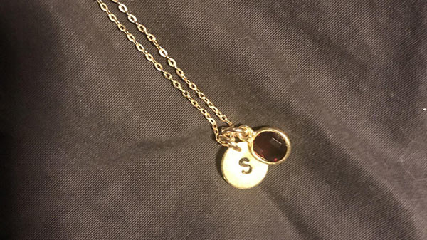 Stephanie's Initial Garnet Necklace Personalized on Eve's Addiction