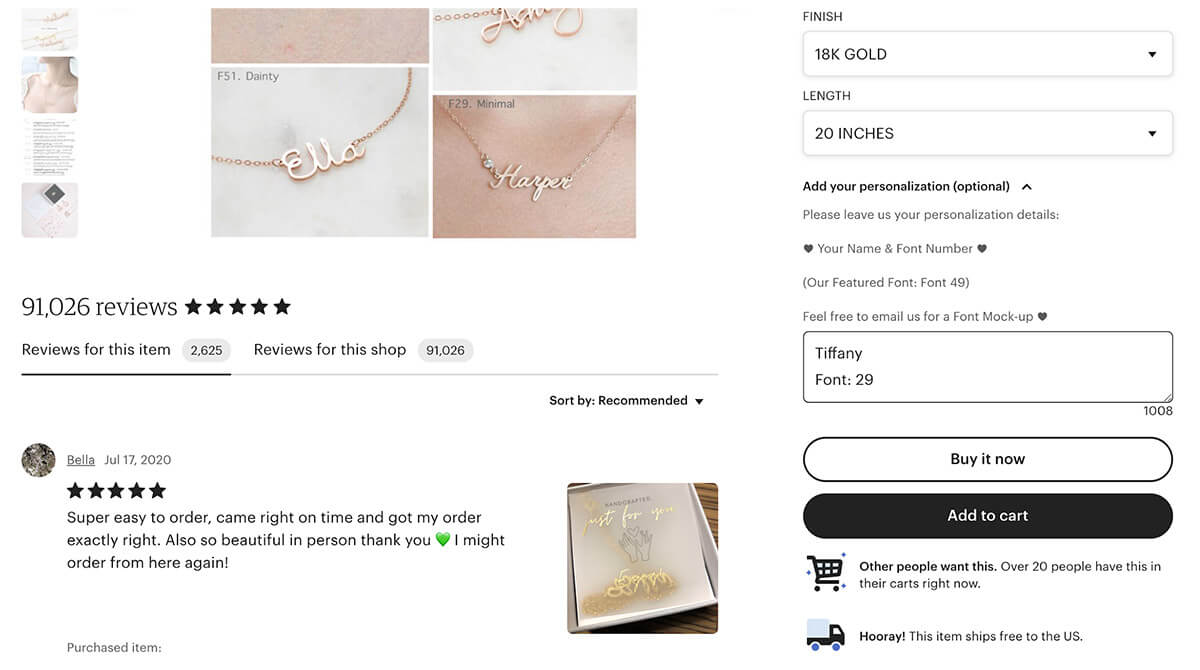 Tiffany's CaitlynMinimalist Name Necklace Personalization Options