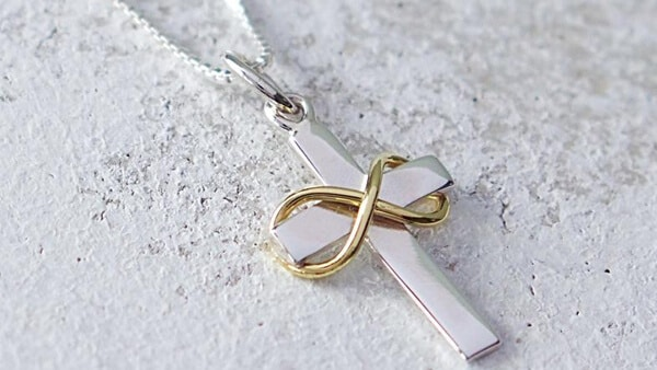 Cross Infinity Symbol Pendant Necklace in Bronze and Sterling Silver