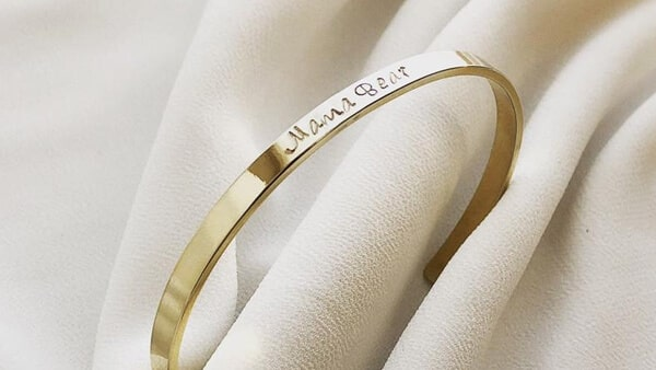 Custom Engraved Cuff Bracelets: Yellow Gold Plated