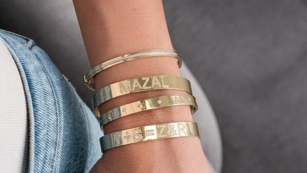 Custom Diamond Cuff Bracelet in Yellow Gold