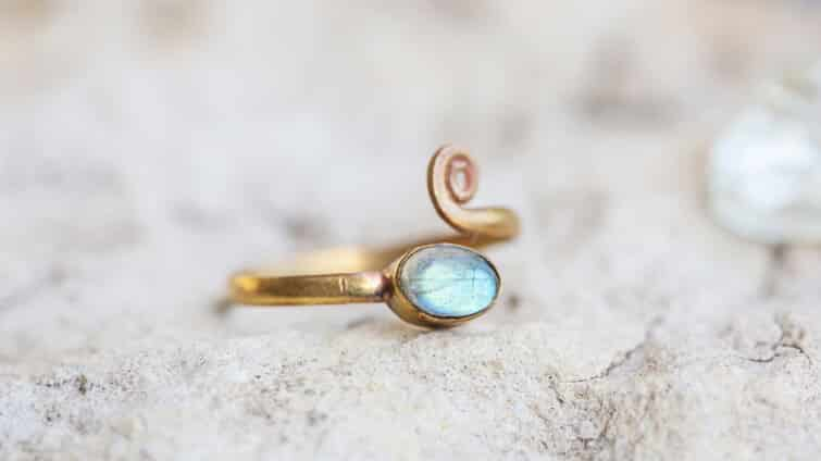 Yellow Gold Plated Silver Labradorite Engagement Ring