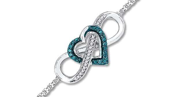 Heart Infinity Symbol Bracelet With Blue Diamonds, in Sterling Silver