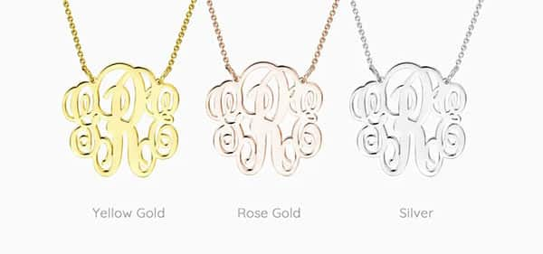 The Look of Monogram Fonts Shown in Different Metal Colors