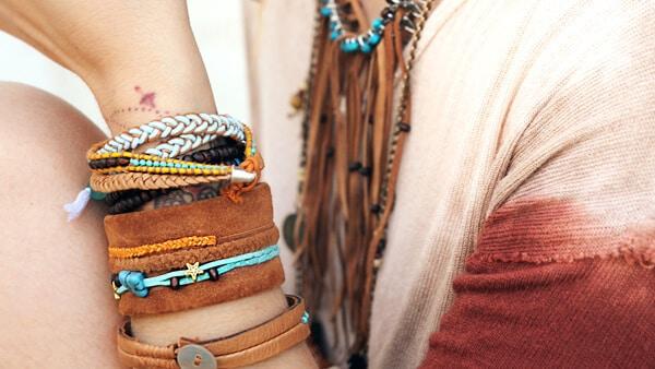 Woman Wearing Personalized Leather Bracelet