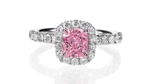 Halo Style Pink Diamond Engagement Ring
