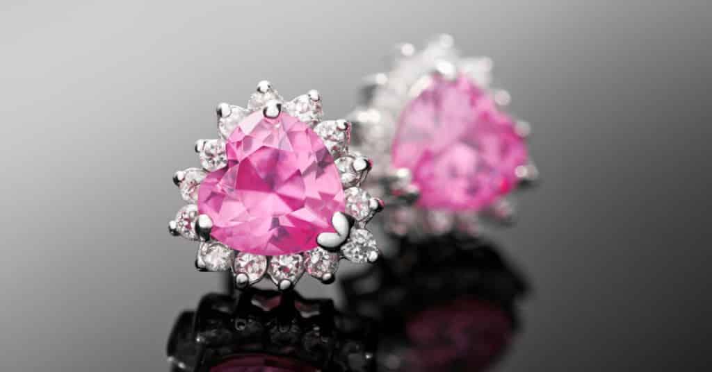 Pink Gemstones: Pink Diamond Heart-Shaped Earrings