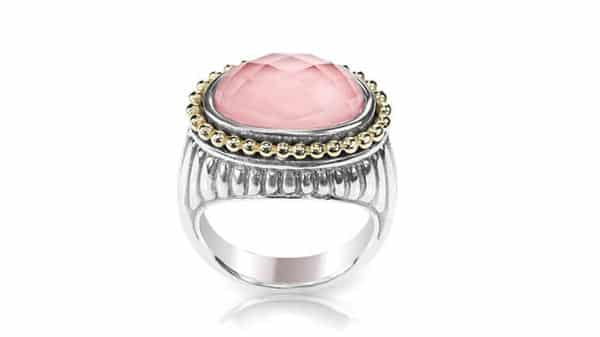 Rose Pink Quartz Silver and Yellow Gold Isolated Ring